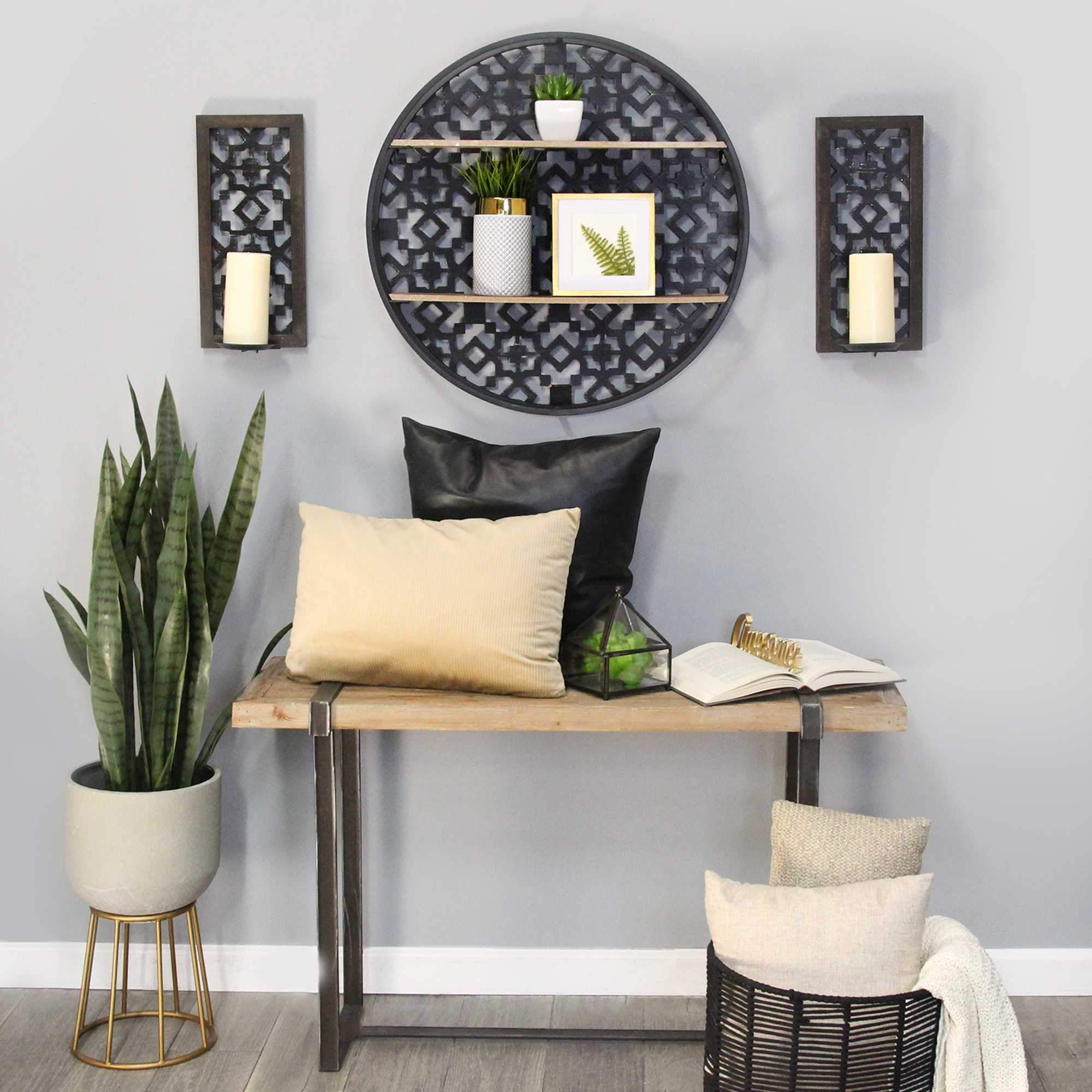 Black Boho Metal & Wood Framed Shelf Wall Decor HomeRoots