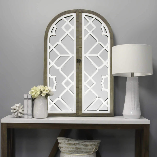 Gate Wood and White Door Mirror with Latch Wall Decor HomeRoots