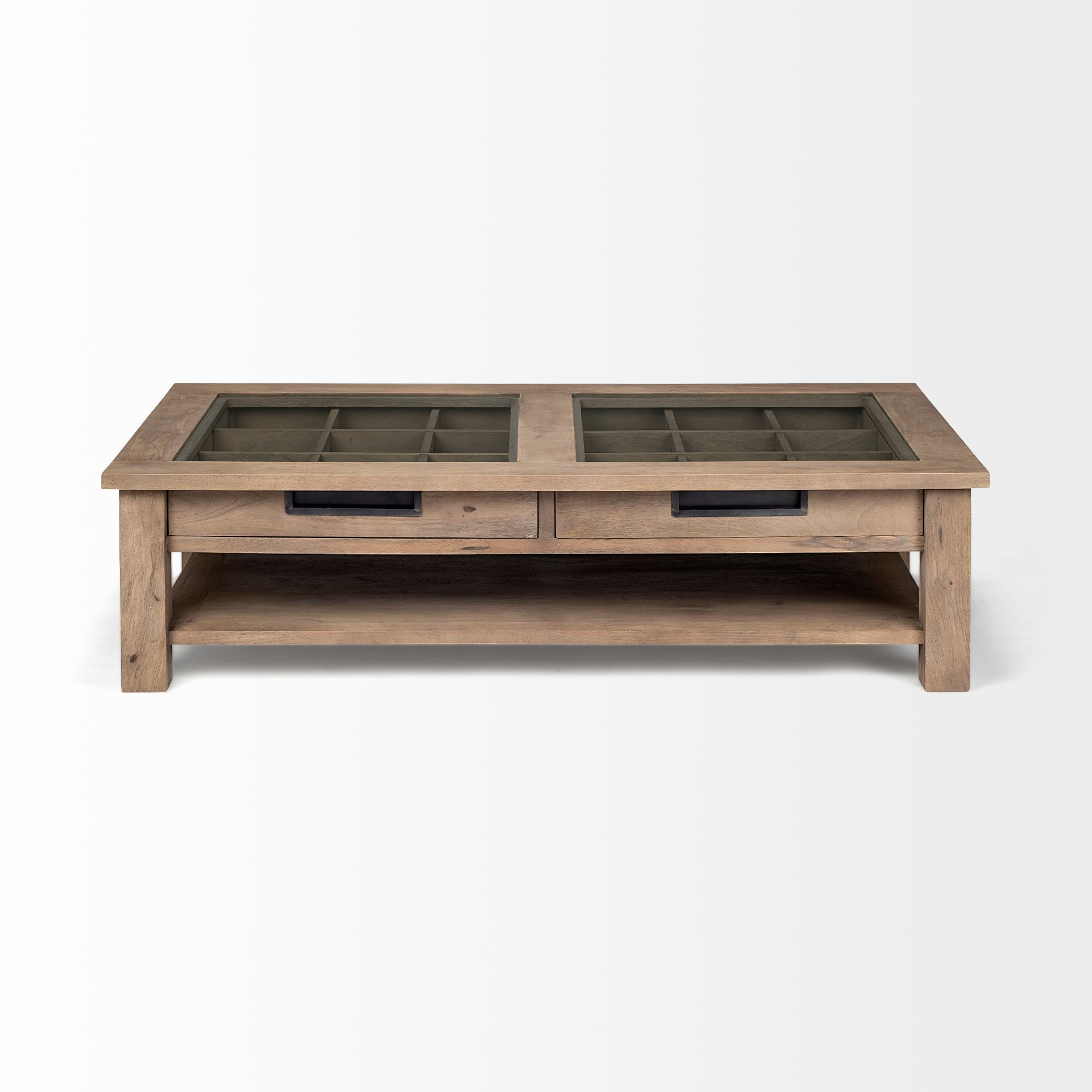 WRITE ME Rectangular Glass Top Solid Wood Base Coffee Table w/ 2 Drawers Coffee Tables HomeRoots
