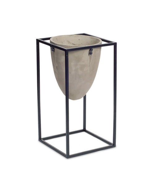 "Lahinch Industrial Cement Pot Stand (17""H) Brookasa"