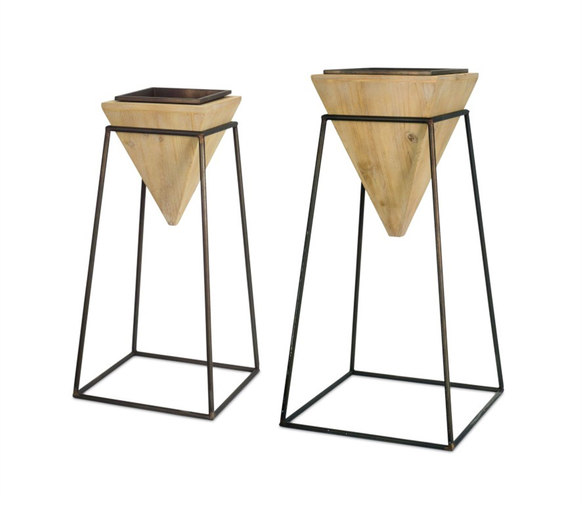 Giza Wood & Metal Planters (Set of 2) Melrose