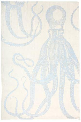 Ollie Hand-Screened Silver Octopus Bath Mat Thomas Paul