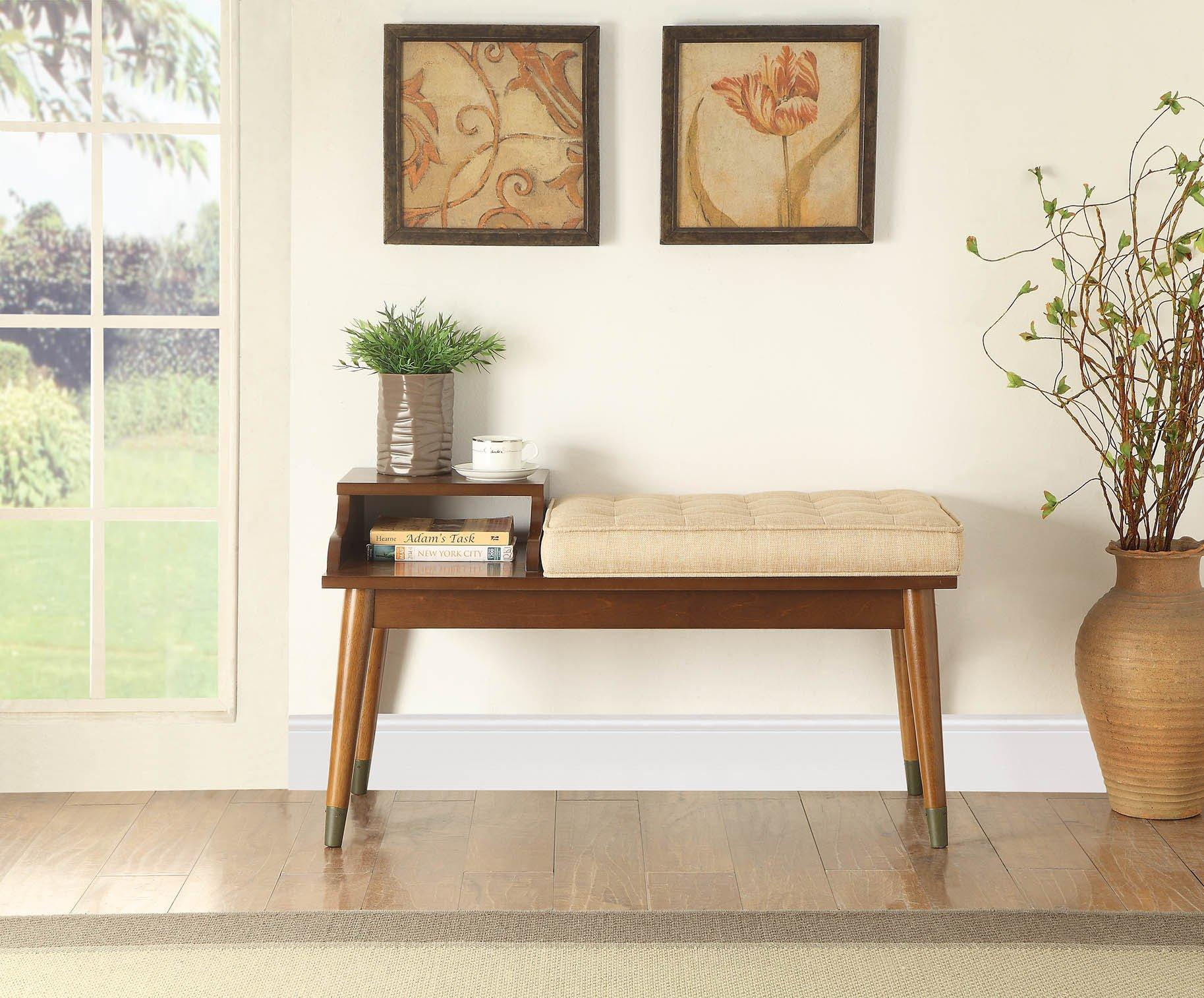 William Cushioned Baptis Bench With Storage HomeRoots.co