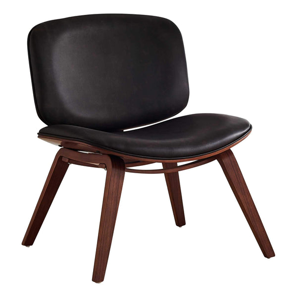 Coffee Leather Look Accent Chair HomeRoots.co