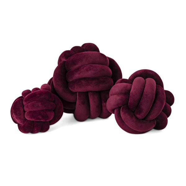 WRITE ME 52539-3 SG Lamis Burgundy Faux Velvet Knots - Set of 3 IMAX