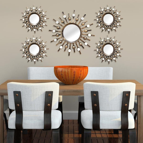 "Write Me 39"" X 1.5"" X 21"" Bronze 5Pcs Burst Wall Mirrors Homeroots"