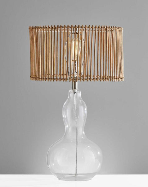 Malacca Glass and Rattan Table Lamp Table Lamps HomeRoots