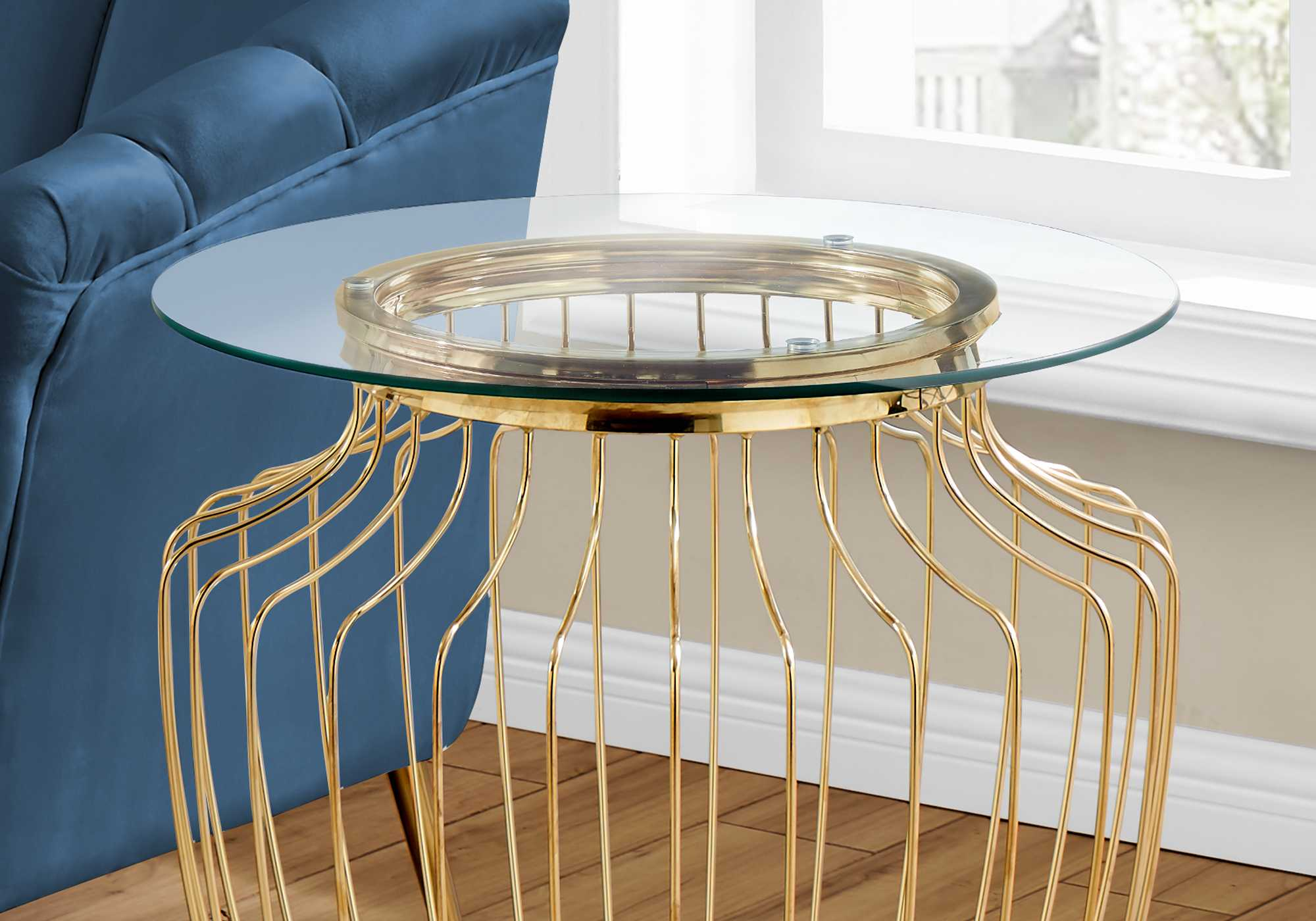 Write Me Gold Metal with Tempered Glass Accent Table HomeRoots