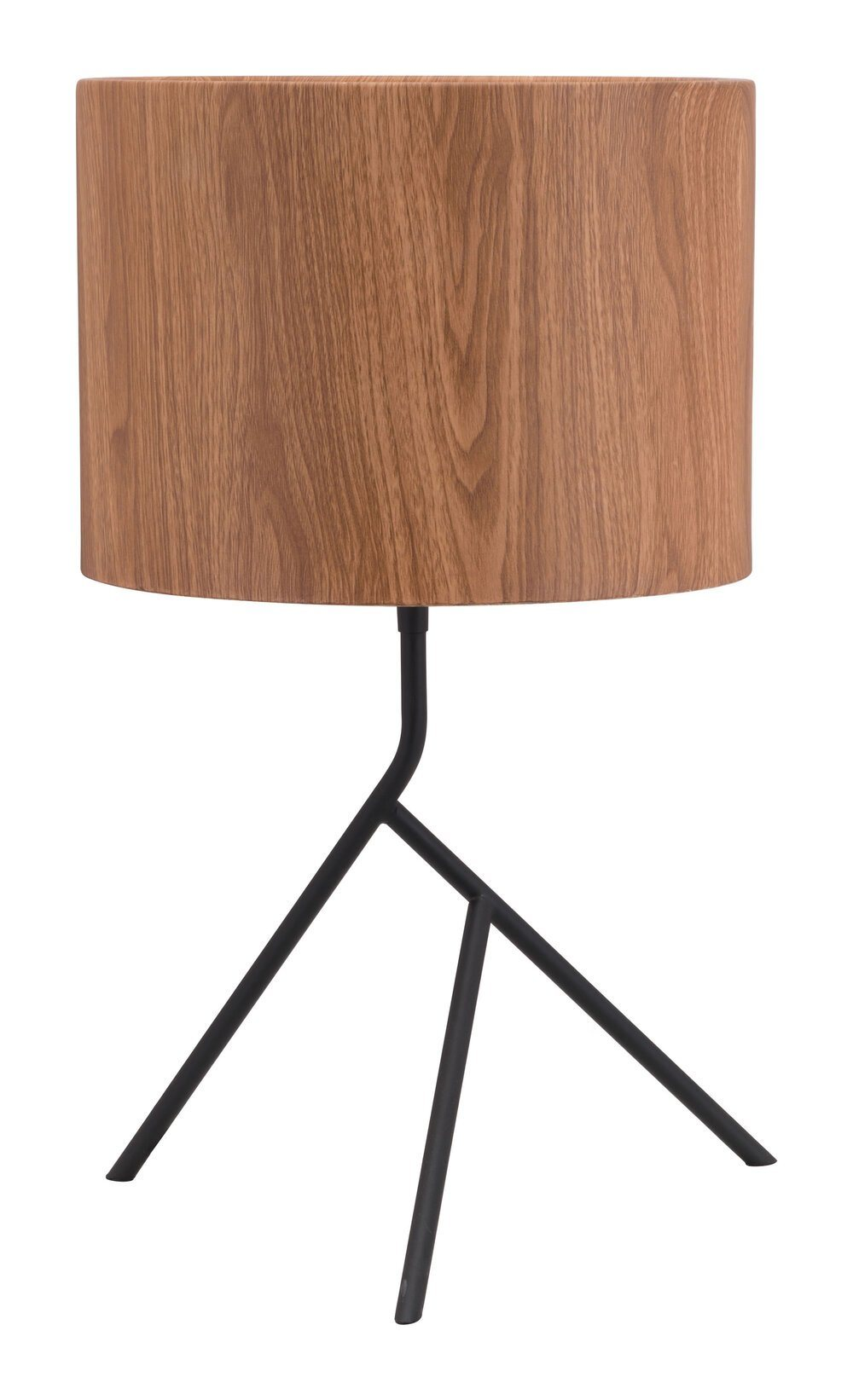 mid-century modern lamp with three asymmetrical feet and a wood-grain lamp shade