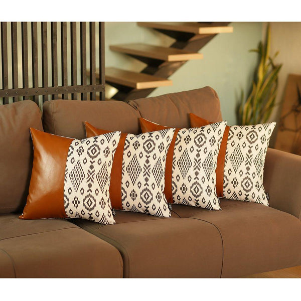 Decorative Brown Vegan Faux Leather Square Throw Pillow Cover (Set of 4) Mike&Co. New York