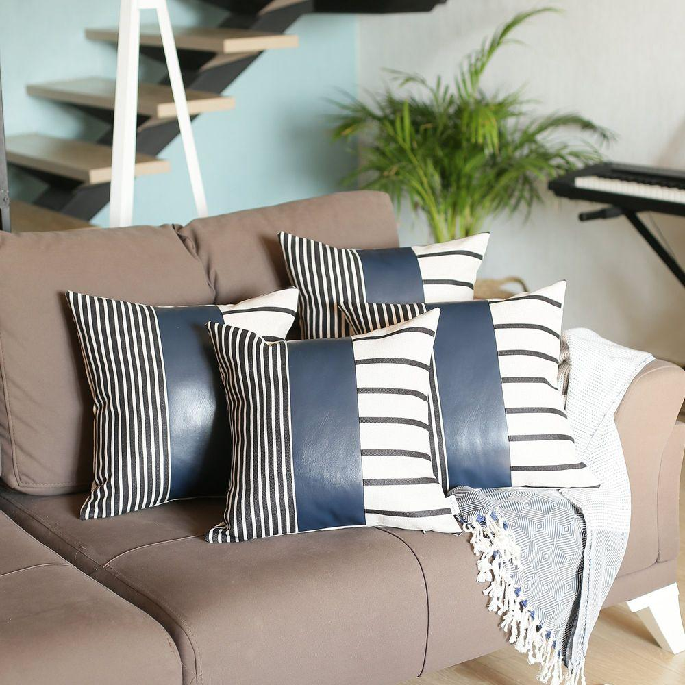 Decorative Vegan Faux Leather Square Throw Pillow Cover (Set of 4) Mike&Co. New York