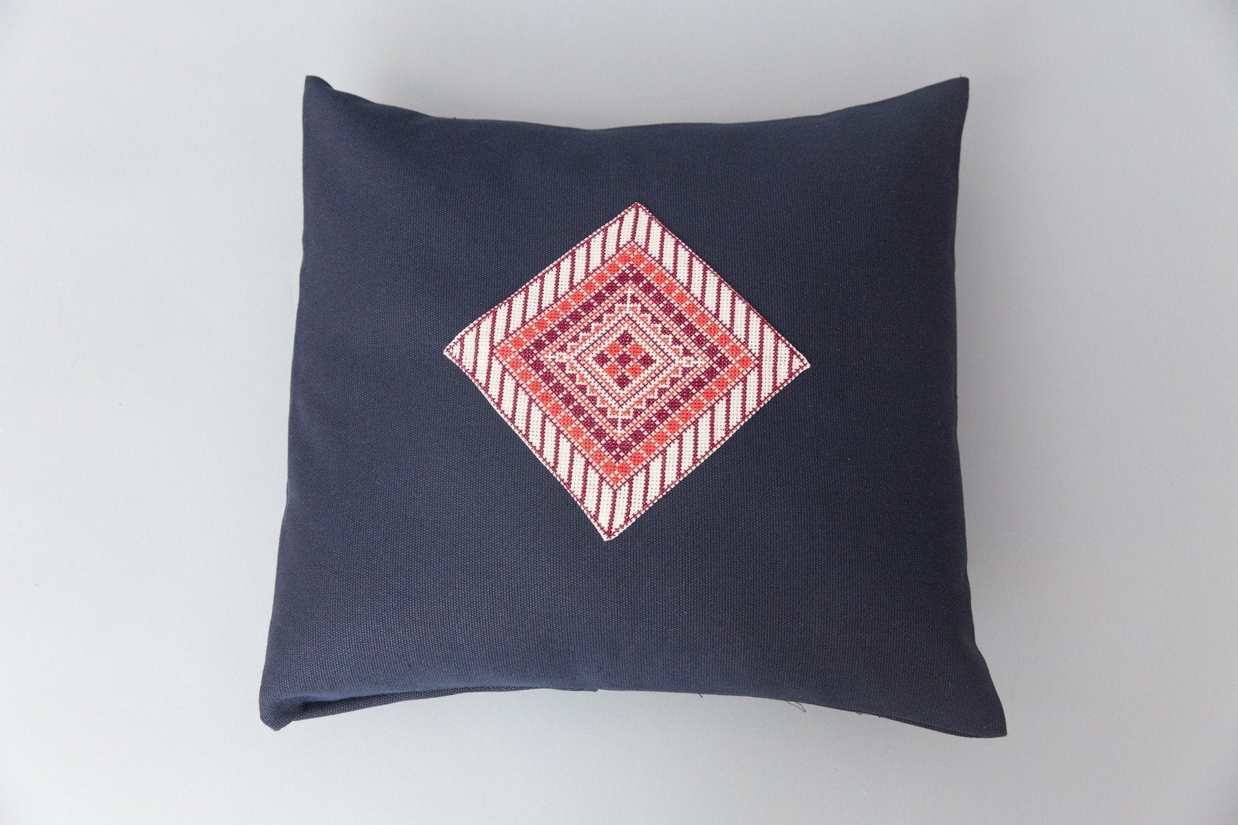 "Handmade ""Diamond"" Palestinian Pillow in Blue Darzah"