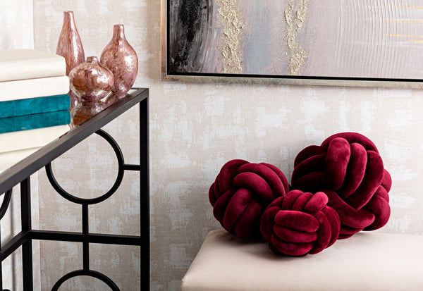 Avallon Burgundy Faux Velvet Knots - Set of 3 IMAX
