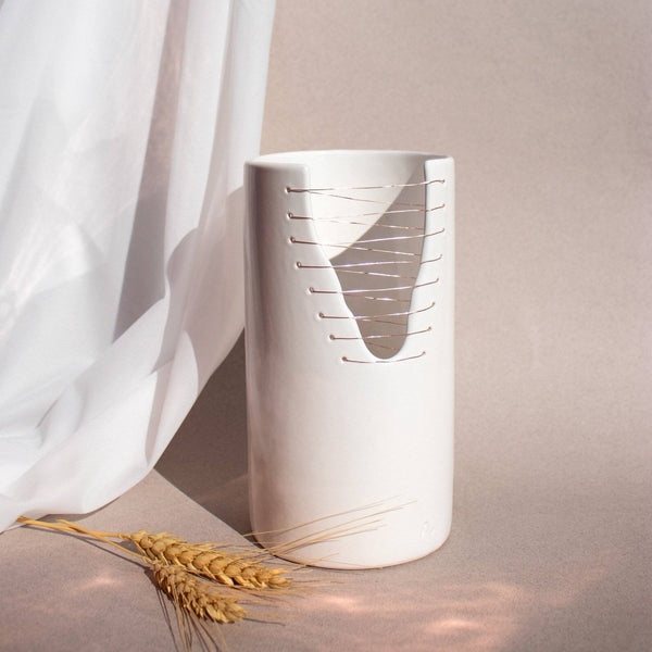 "Ava Limited Edition ""Stitches Collection"" White Cylinder Vase Ayadee"