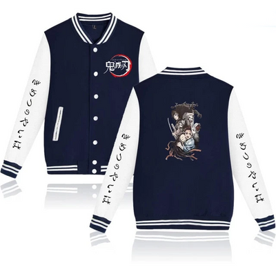 Demon Slayer Column Logo Varsity Jacket - Ikuzo Concept