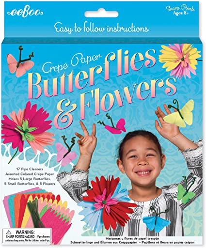 Crepe Paper Butterflies And Flowers