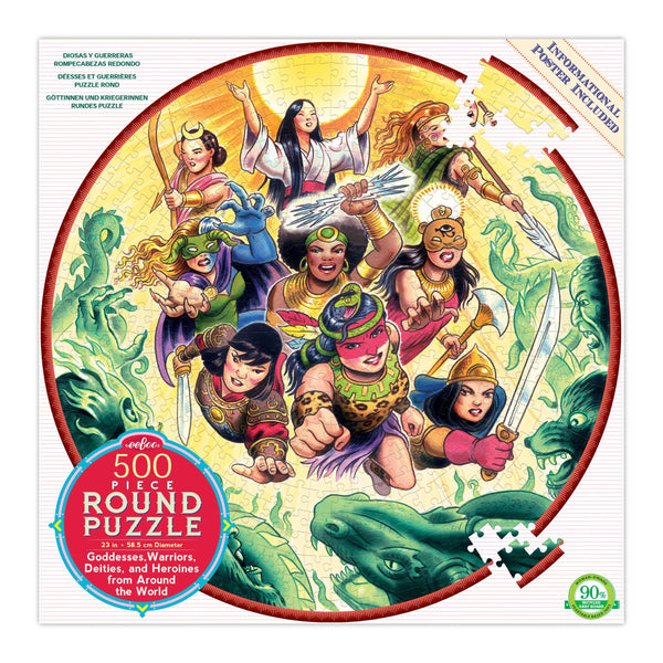 Goddesses And Warriors From Around The World 500-Piece Round Puzzle