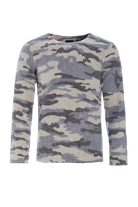 Blouse round neck in print - 1000 - CAMOUFLAGE