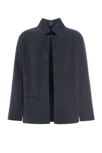 CARDIGAN WITH COLLAR AND POCKETS - 1001C - DEEP BLUE