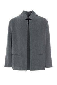 CARDIGAN WITH COLLAR AND POCKETS - 1001C - GREY