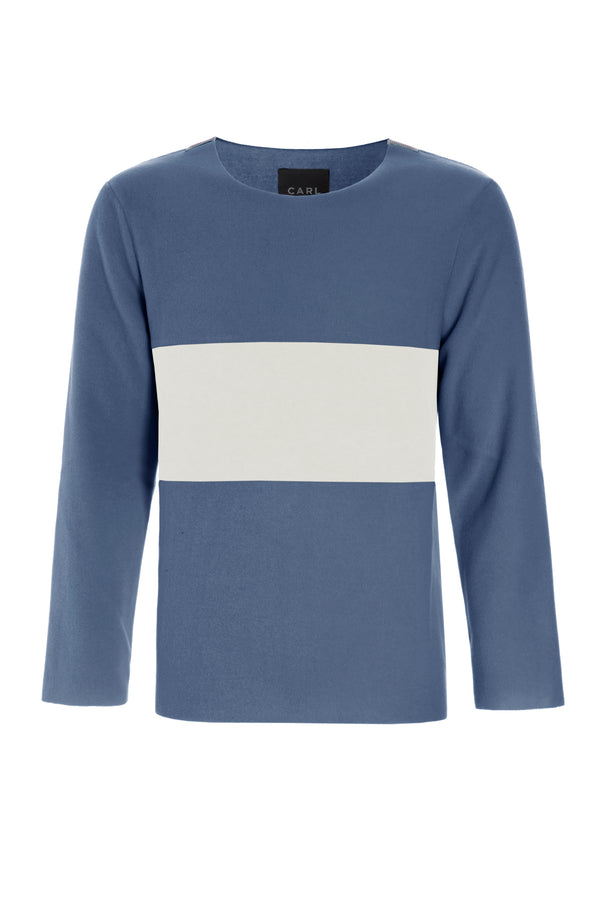 CARL BY STEFFENSEN COPENHAGEN BLIUSE WITH BIG STRIPE - 1005C BLOUSES BLUE/OFF WHITE