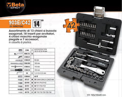"Set bussole 1/4"" Beta Easy 903E/C42"