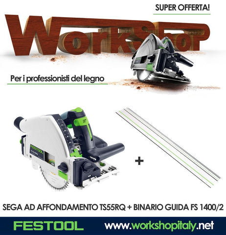 Sega ad affondamento TS 55 RQ-Plus + Guida fs 1400/2 Festool
