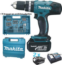 Trapano batteria Makita percussione art.DHP453RFX4 2 batterie V.18 Ah 3,0 LITIO