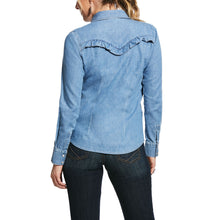Load image into Gallery viewer, ARIAT WOMENS RUFFLE DENIM SNAP SHIRT
