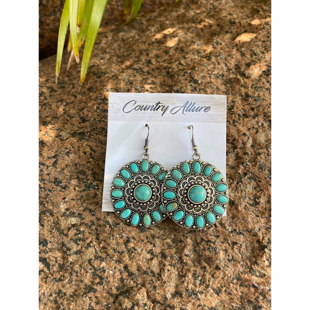 COUNTRY ALLURE SILVER AND TURQUOISE MANDALA EARRING