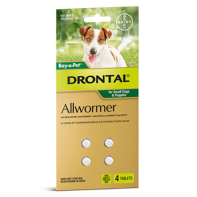 DRONTAL ALLWORMER CHEWABLES FOR DOGS 4 CHEWS