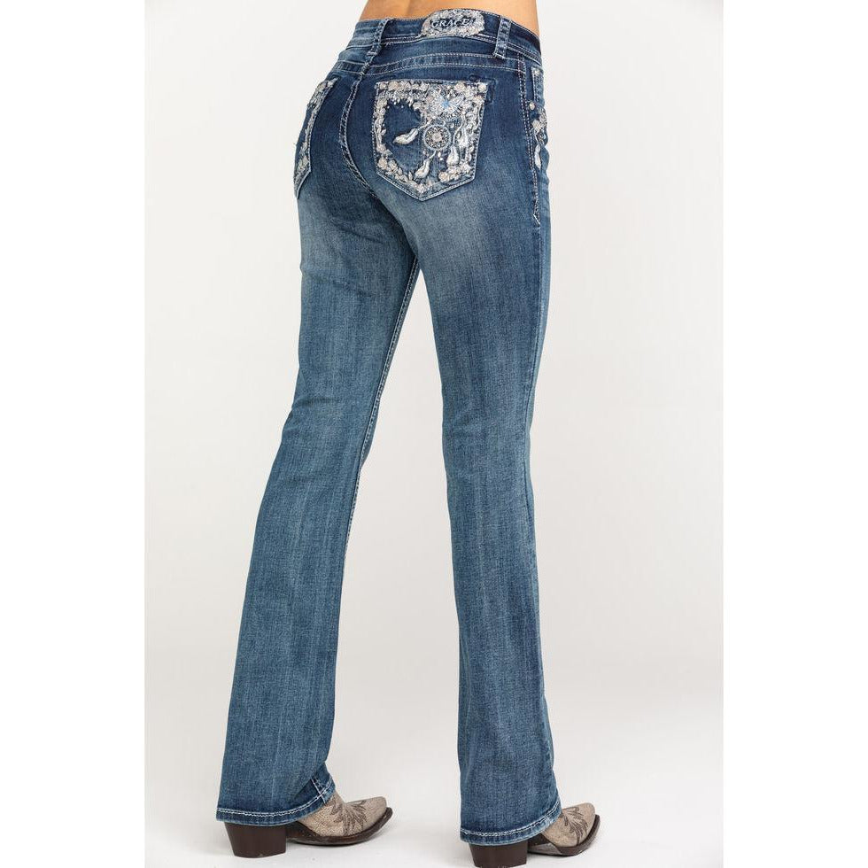 GRACE IN LA DREAM CATCHER FEATHER JEANS