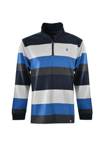 THOMAS COOK MENS BRANDON STRIPE 1/4 ZIP RUGBY SWEATER