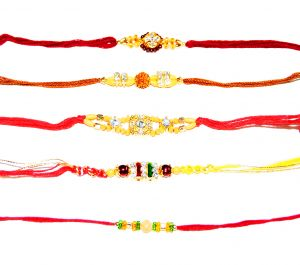 Simple Gold and Red 5 Rakhi Set
