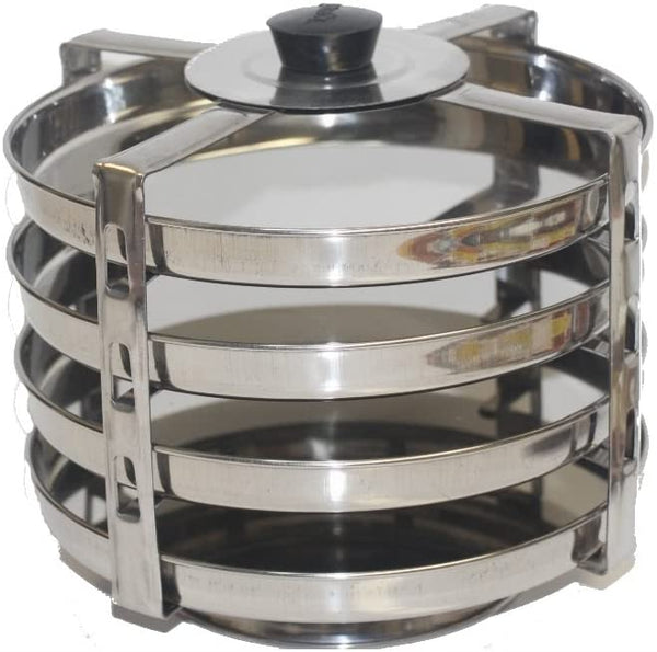 4-Plate Stainless Steel Dhokla Stand, Medium, Silver