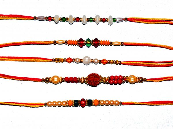 Beaded 5 Rakhi Set