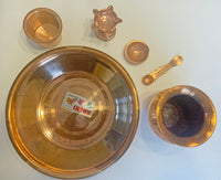 Copper Puja Set - Thali, 2 Diyas, Panch Patra, Spoon, and Kalash