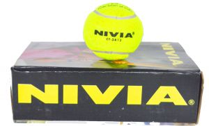 Nivia Yellow Hard & Heavy Cricket Tennis Balls - Pack of 6