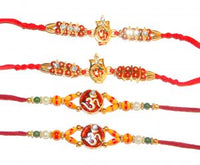Fancy Om Beaded 4 Rakhi Set