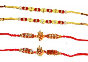 Yellow, Red, and Sequin 4 Rakhi Set