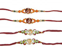 Orange and Green Om Beaded 4 Rakhi Set