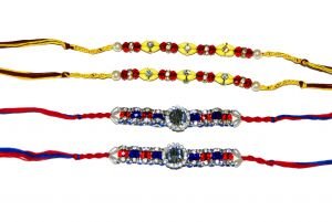 Blue, Red, and Yellow Sparkly 4 Rakhi Set
