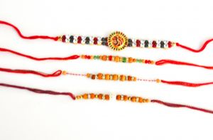Wooden Bead and Sequin 4 Rakhi Set