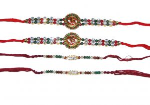 Red and Green Beaded 4 Rakhi Set