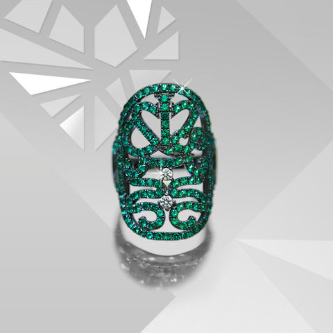 Lace Emerald CZ ring