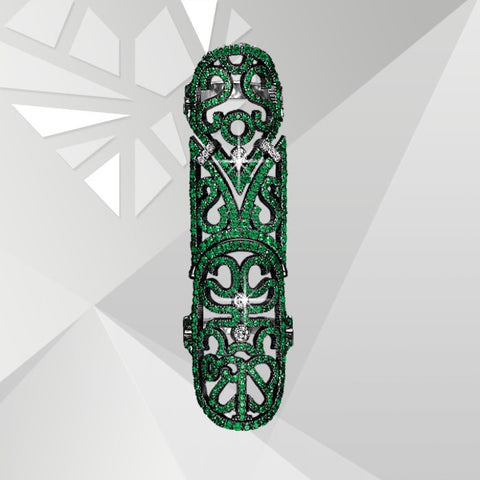 Emerald CZ. Lace Full Finger ring