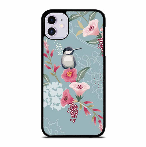 BIRDS SEAMLESS FLORAL PATTERN IN SPRING iPhone 11 Case