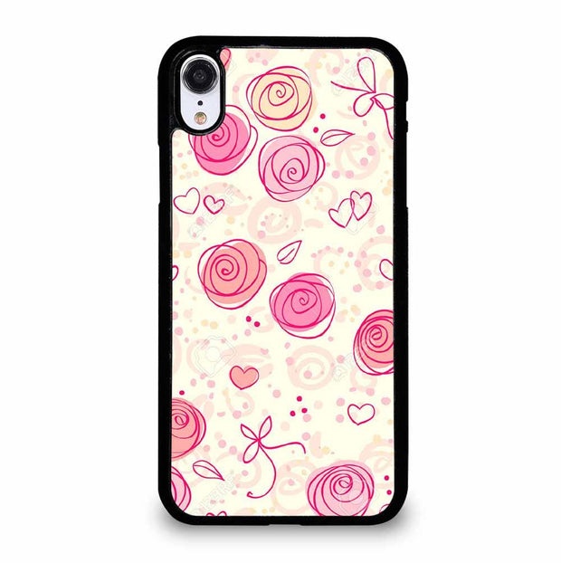 PINK FLOWER PATTERN iPhone XR Case