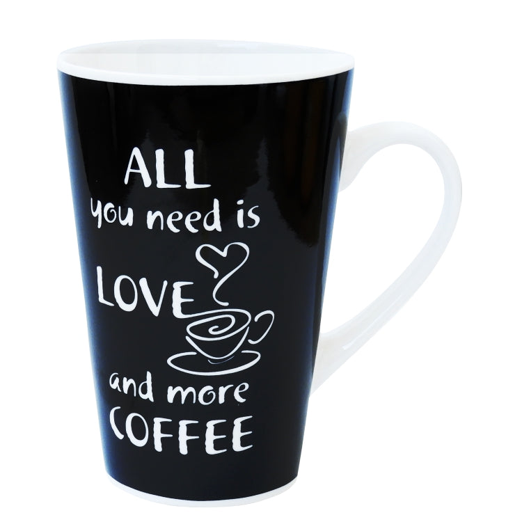 Velik črno bel lonček: All you need is love and more coffee