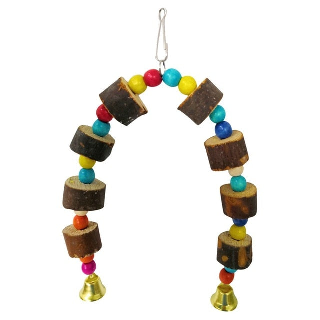 Wooden Hanging Cage Toys - Parrottoysplus